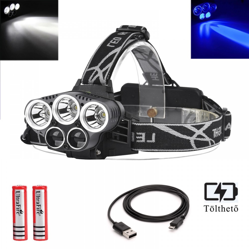 Ledes Akkus Fejlámpa Extra Erős 5 x T6 LED Fehér-UV Fénnyel Csepp és Porálló